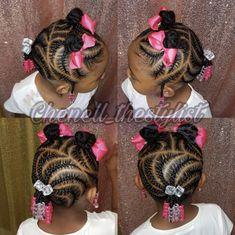 Little Girl Cornrows, Little Girls Ponytail Hairstyles, Kids Cornrow Hairstyles, Little Girls Natural Hairstyles, Toddler Braided Hairstyles, Black Kids Hairstyles, Baby Girl Hairstyles, Toddler Braid Styles, Little Girl Braid Styles