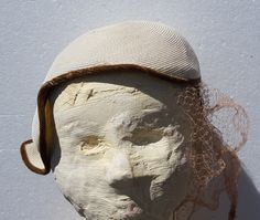 Vintage Ivory Woven Brown Velvet Edged Ladies Hat by ALONGWAYBACK on Etsy