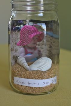 Beach in a Bottle Keepsake. A great way to display shells from your vacation!