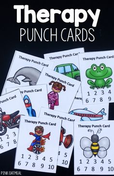 A huge selection of therapy punch cards. Perfect for Occupational therapists, physical therapists, or speech language pathologists!