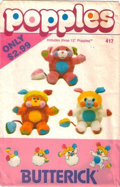 Reserved for Tracy Butterick 417 Popples Pattern for 3 12 inch Popples Uncut