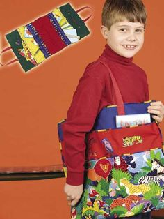 """Perfect for the young artist in your family, this free sewing pattern makes a fun, colorful crayon bag that holds coloring books and art supplies as well. Finished crayon-bag size is approximately 17"""" x 16"""" folded.Skill Level: Beginner"""