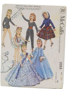 1958 -McCalls Pattern No. 2255- Dolls sewing pattern for high heel figure Dolls Wardrobe. Designed for Revlon, Cindy, Missy, Toni Sophisticate, Junior Miss and Sweet Sue Sophisticate Dolls