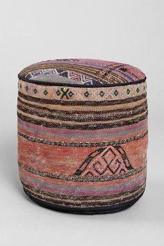 Vintage Woven Pouf Ottoman