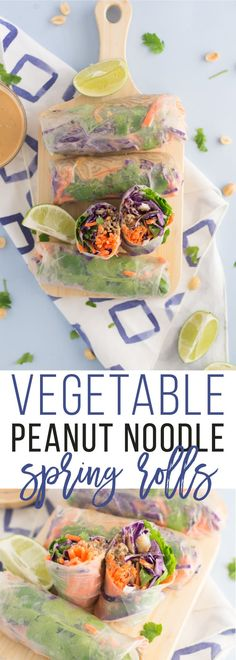 Peanut Noodle Vegetable Spring Rolls -- Saucey peanut noodles and fresh vegetables all wrapped in a rice paper roll! Dip these vegetable spring rolls in extra peanut sauce for a delicious and healthy vegan lunch or dinner recipe! #vegan #vegetarian #cleaneating #lunch #dinner #snack #asianfood - mindfulavocado