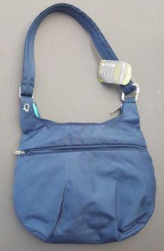 Travelon Anti Theft Purse Handbag Blue Hobo Crossbody RFID Blocking 025732028351 #Travelon #Hobo