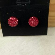 Accessories - Red disco ball earrings