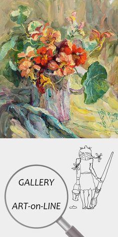 "Елена Бражник | Живопись | Картина | Дизайн | Интерьер | Цветы | Натюрморт ""Настурции"" (фрагмент) Холст Масло 40х40см 2008 | №1116-049 Still Life Images, Palette Knife Painting, Oil Painting Flowers, Flower Pots, Potted Flowers, Van Gogh, Watercolor Art, Color Schemes, Vintage World Maps"