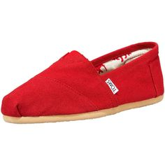 TOMS Classic Canvas Slip-On found on Polyvore featuring shoes, flats, toms, red, flat shoes, slip on shoes, toms shoes, red canvas shoes and red wedge shoes