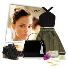 """Olive Green Skirt"" by purenaturaldiva ❤ liked on Polyvore featuring Rimmel, BCBGMAXAZRIA, naturalbeauty, organicbeauty and purenaturaldiva"
