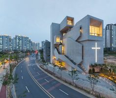 FIRM: Heesoo Kwak + IDMM Architects; PROJECT: The Closest Church; LOCATION: Gimpo-si, South Korea. Church that uses its sharp edges and vertices to announce its presence and acts as place for refuge and worship for believers, and offering its rooftop terraces for both outdoor worship and for events space for the locals.