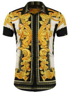 Button Front Patterned Short Sleeve Shirt in White + Black + Yellow | Sammydress.com