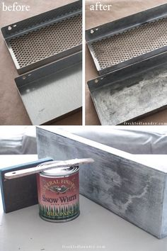 "DISTRESSING | METAL :: How To Age Metal to give it a ""Zinc Looking Finish"" & How to give Metal a Painted White Finish (Tutorial)"