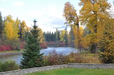Fall view from the back deck of the Lodge, overlooking the Wenatchee River.