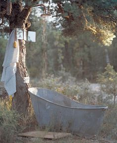 Old Tin Bath Out In The Middle Of Nowhere Outdoor Bathtub Galvanized