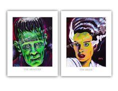 The Monster & The Bride of Frankenstein Set Art Prints 8.5 x 11