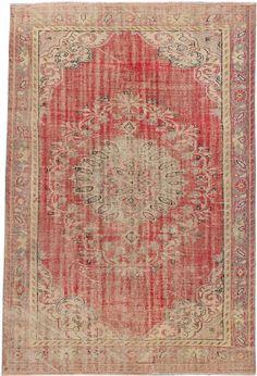 Pastel Red Vintage Turkish Rug 6'0 x 8'10 by kordestanicollection