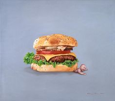 fast food, oil painting by chinese artist kang can