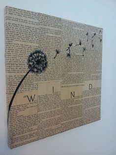 """Dandelion """"Wind"""" Painting- text and paint multimedia wall art"""