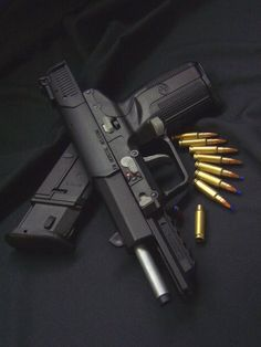FN Herstal 5.7 The Five-seven pistol was developed in conjunction with the FN P90 personal defense weapon and uses the same ammo.