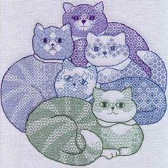 Cat Blackwork Pattern by Dakota Rogers | eBay. Very nice!