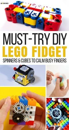 Fidget spinners and fidget cubes can calm busy fingers. Take creativity to the next level with these must try LEGO fidget spinners and LEGO fidget cubes. Diy Lego, Lego Craft, Pokemon Go, Lego Pokemon, Lego For Kids, Diy For Kids, Crafts For Kids, Legos, Lego Challenge