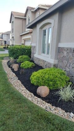 55 Fresh and Beautiful Front Yard Landscaping Ideas Low Maintenance, . - 55 Fresh and Beautiful Front Yard Landscaping Ideas Low Maintenance, Mulch Landscaping, Landscaping With Rocks, Front Yard Landscaping, Black Rock Landscaping, Florida Landscaping, Simple Landscaping Ideas, Inexpensive Landscaping, House Landscape, Landscape Plans