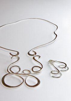 """spb joyas: Collar y aros en plata """"Calder"""""""