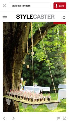 Suspend tables from the trees with rope. - Sommerfest -Suspend tables from the trees with rope. - Sommerfest -Suspend tables from the trees with rope. Event Planning, Wedding Planning, Our Wedding, Dream Wedding, Trendy Wedding, Wedding Unique, Wedding Reception, Glamorous Wedding, Wedding Scene