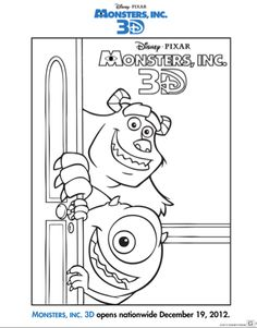 free printable monsters inc 3d activity sheets for kids - Printable Activity