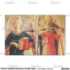 MUSIC MAKING ANGELS IN RED AND GOLD Christmas Tissue Paper
