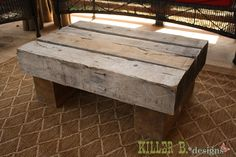 Reclaimed Railroad Tie Outdoor Coffee Table...love this for my husband who lays ties would be awesome