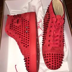 Christian Louboutins red poppy 42 men Christian Louboutins Brand new with box  Size 42 , 9 US men 100%authentic or 2x money back  Sold out world wide!! With box and everything in it Will negotiate lower price through ️️ comes from pet free smoke free home I will be posting my collection of more designer sneakers in the future so follow me if you can :) Christian Louboutin Shoes Sneakers