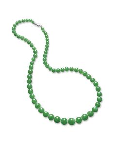 JADEITE AND DIAMOND NECKLACE  Estimate:    Composed of sixty-eight graduated jadeite beads of fine translucent emerald green colour, to a clasp set with step and rose-cut diamonds, mounted in 18 karat white gold, length approximately 650mm. LOT SOLD. 1,820,000 HKD