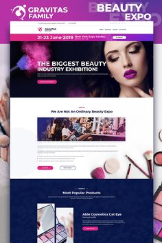 Gravitas - Beauty Expo MotoCMS 3 Landing Page Template Event Landing Page, Landing Page Design, Page Template, Layout Template, Templates, Website Color Schemes, Landing Page Inspiration, Beauty Expo, Event Website