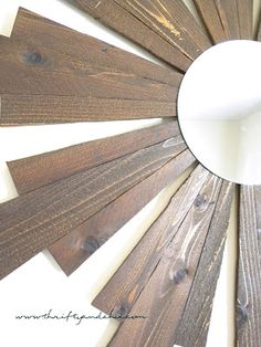 Sunburst Mirror -Ballard Designs Knock off made from Cedar planks only for $11! (Adjust design and stain darker to match kitchen cabinets)