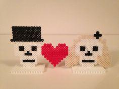Bride + Groom Skulls with Heart (Cake Topper, Centerpiece, Halloween, Wedding)