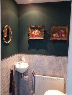 Toilet metamorfose door alleen de wand groen te schilderen.