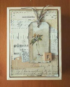 "Collage...""F is for Flower."" #collageartist #collage #vintagehome #cheryldosseyart"