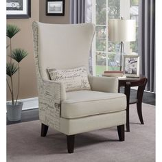 Coaster Accent Chair in Cream, french script writing, Beige