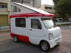 Tentmushi is an RV built on a mini truck platform.