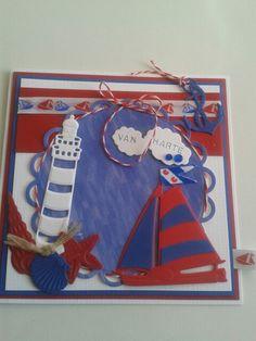 Van harte kaart in rood.wit.blauw en klein fries vlagje in de mast.