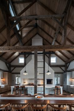 Vintage barn frame addition to Dutch stone house - rustic - kitchen - boston - KATE JOHNS AIA - Like the contrast in the ceiling wood and the beams. If you are going to expose beams, make sure you can see them. Home Fashion, Style At Home, Casa Loft, Barndominium Floor Plans, Converted Barn, Barn Renovation, Barn Living, Living Room, Pole Barn Homes