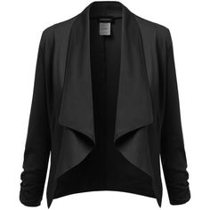 Awesome21 Women's Lapel Long Sleeve Short Suit Blazer Jacket ($20) ❤ liked on Polyvore featuring outerwear, jackets, blazers, coats, lapel blazer, lapel jacket, short jacket, long sleeve jacket and short-sleeve blazers