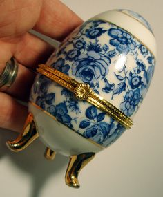 Limoges style Fabrige Egg Trinket Jewelry Box Blue by sachsvintage