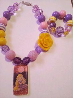 Tangled repunzel chunky necklace and bracelet set