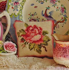Rose Pincushion Chart Download by creamteaclub on Etsy
