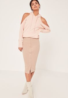 Missguided - Ribbed Popper Through Midi Skirt Nude