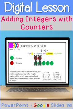Students can interact with this digital lesson to learn how to add integers with counters. Students will practice solving positive and negative number addition problems. They will see examples of counter model integer addition, create their own examples, and explain their reasoning. This resource is great for distance learning or digital learning. It can also be used for small group remediation when students struggle understand the rules for adding integers. #addingintegers #integerrules