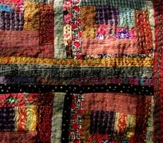 CRAZY LITTLE LOG CABIN QUILT - detail (2009). Made from scraps of old clothing